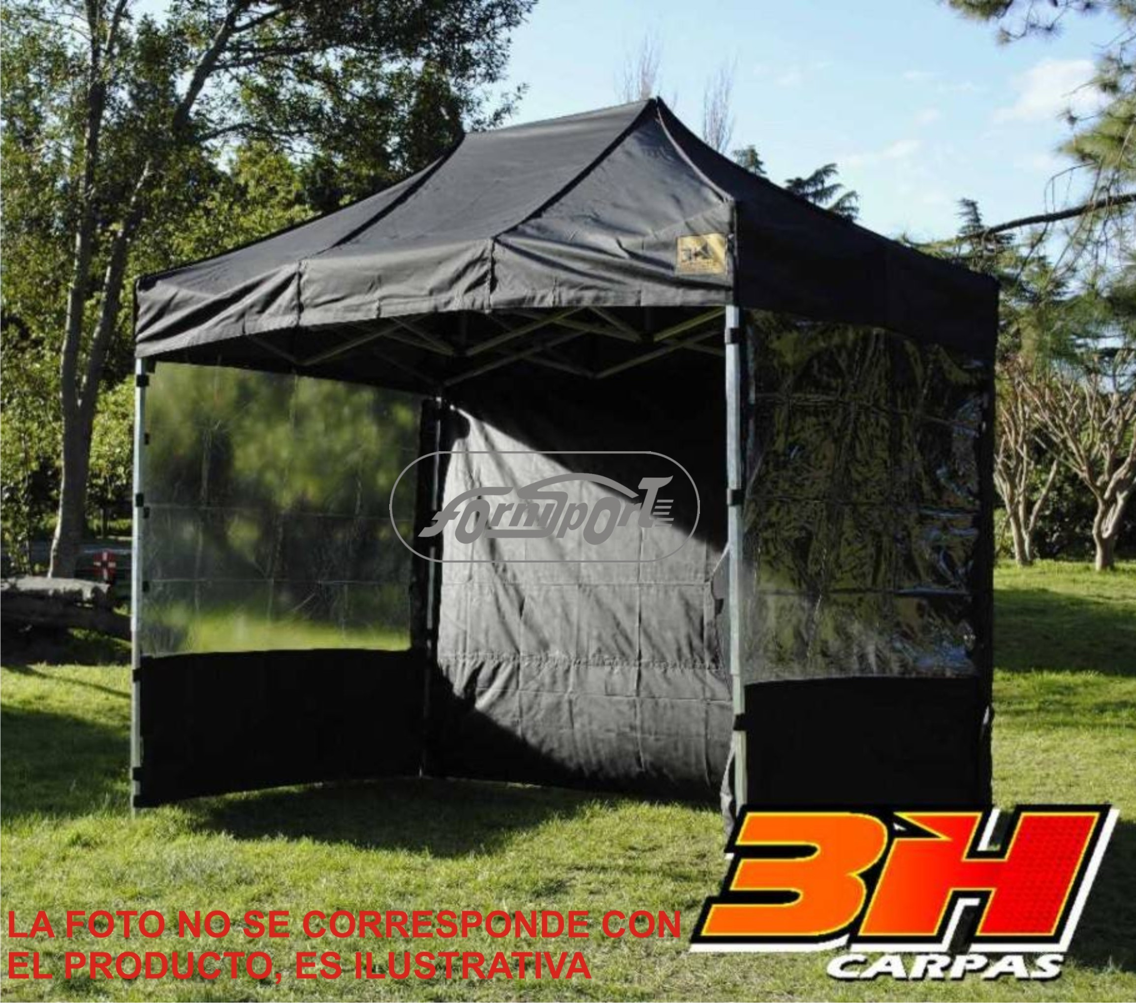 Carpa/LATERAL HHH 6 x 2.10 c/puer Negro